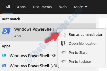 Desktop Avvia ricerca Powershell Windows Powershell Fare clic con il pulsante destro del mouse su Esegui come amministratore