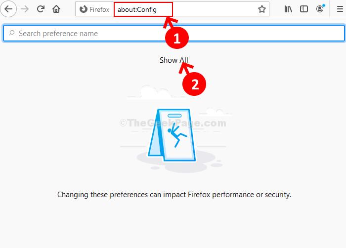 Barra degli indirizzi di Firefox Informazioni su Config Mostra tutto