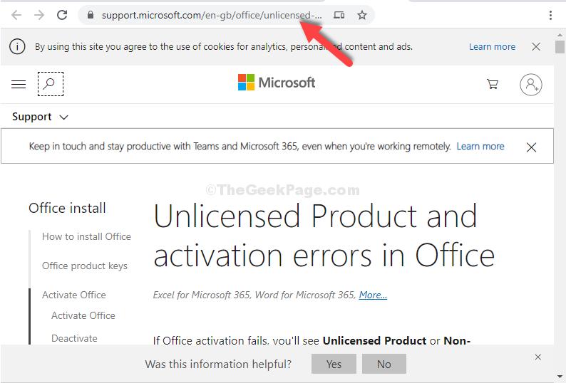 Barra degli indirizzi del browser Collegamento al sito Web ufficiale di Microsoft