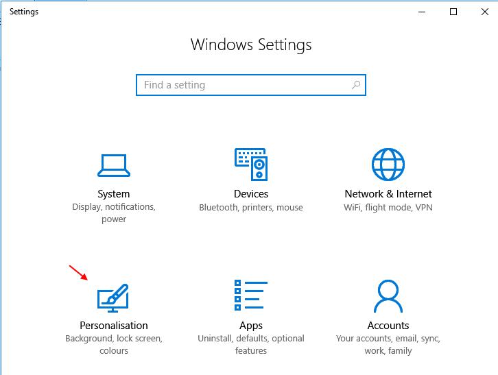 Personalizzazione Windows 10