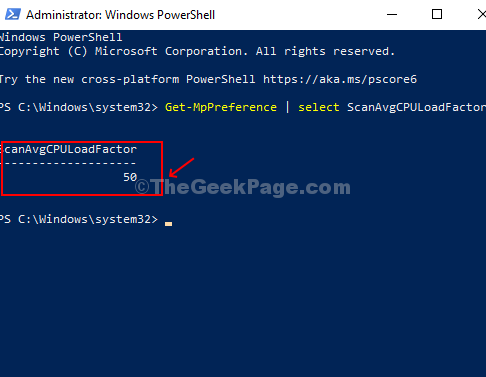 Esegui il comando per verificare il limite di utilizzo della CPU corrente per Windows Defender