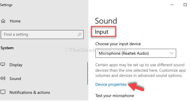 Impostazioni audio Proprietà del dispositivo di input
