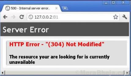 Http error 304 Errore non modificato