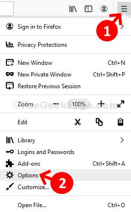Mozilla Firefox tre opzioni della barra orizzontale