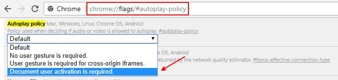 Criterio di riproduzione automatica dei video di Chrome