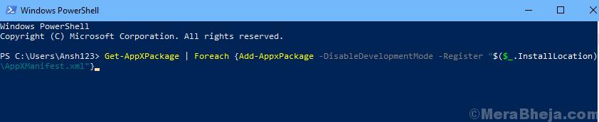Powershell Registra il comando di Windows Store
