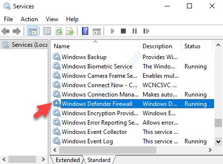 Nome dei servizi firewall di Windows Defender