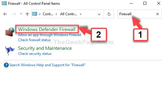 Pannello di controllo Avvia ricerca Firewall Windows Defender Firewall