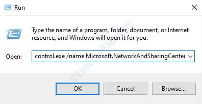 Controllo Exe Network Sharing Center