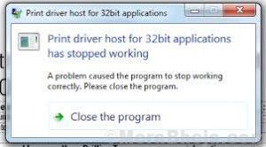 L'host del driver di stampa per le applicazioni a 32 bit ha smesso di funzionare.