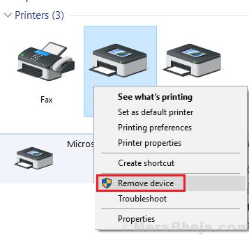 Rimuovere la stampante