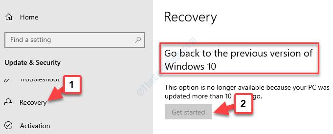 Aggiornamento e ripristino della protezione Torna alla versione precedente di Windows 10 Inizia
