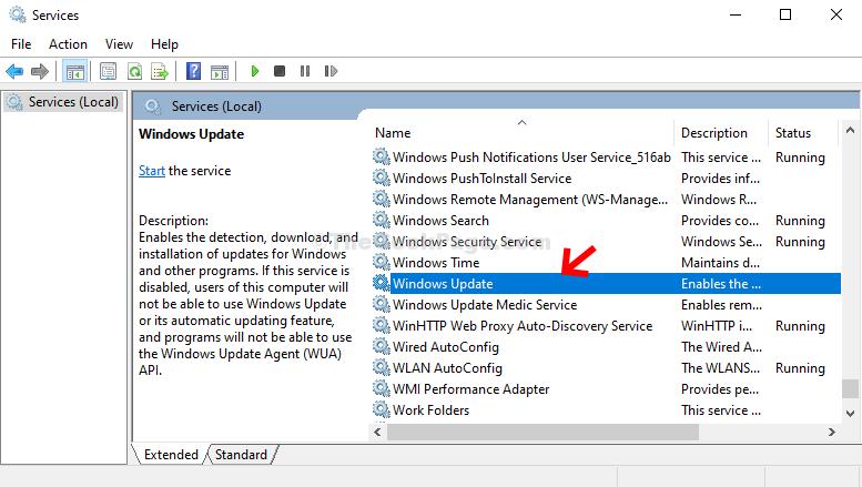 Nome dei servizi di Windows Update Fare doppio clic