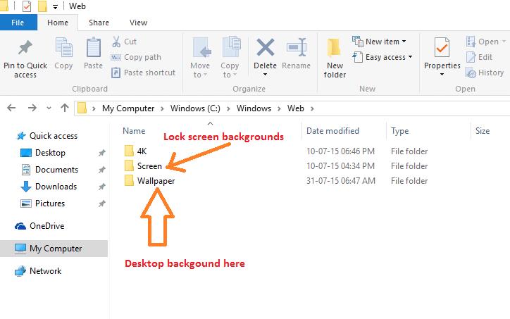 Posizioni di salvataggio degli sfondi di Windows 10