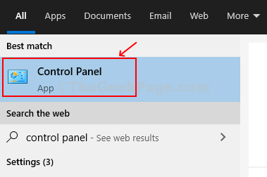 Fare clic su Start, digitare Pannello di controllo nella casella di ricerca, premere Invio