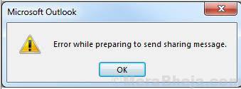 Errore durante la preparazione per inviare un messaggio di condivisione