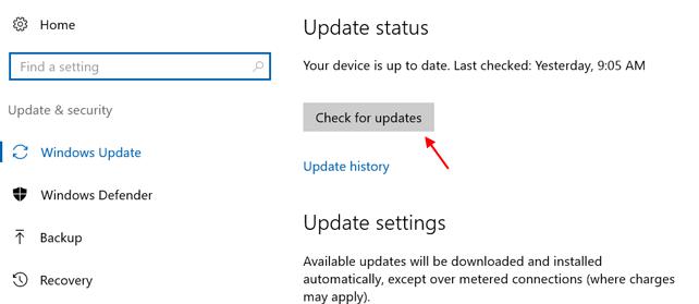 Verifica la disponibilità di aggiornamenti Windows Hello