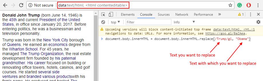 Trova Sostituisci testo Chrome