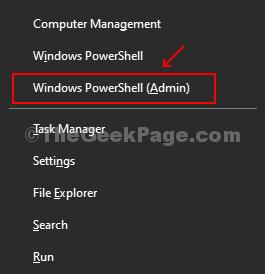 Premi Win + X, fai clic su Windows Powershell (amministratore) dal menu