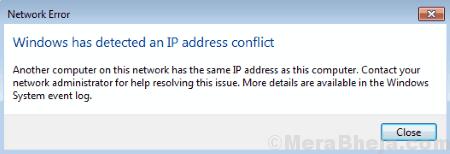 Windows ha riscontrato un errore di conflitto di indirizzi IP