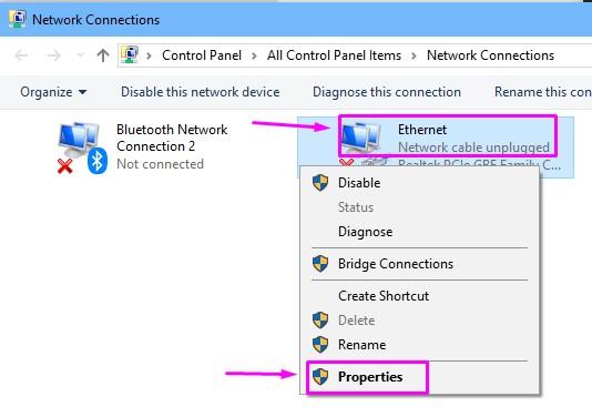 Proprietà Ethernet