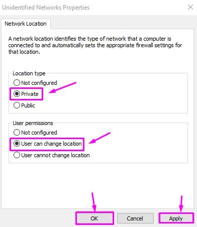 Proprietà di rete non identificate
