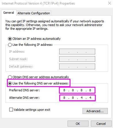 Cambia l'indirizzo del server DNS