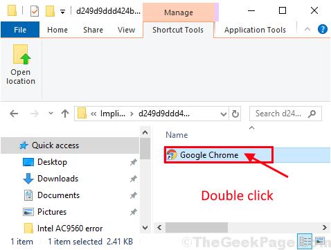 Doppio clic di Google Chrome