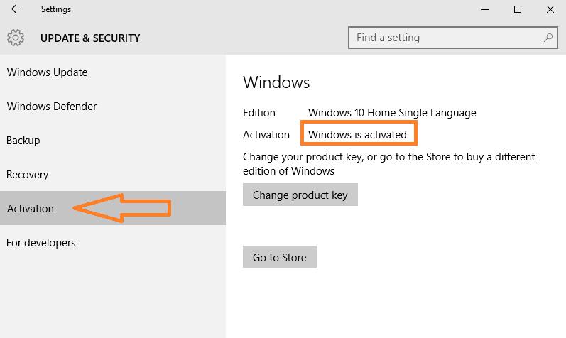 stato di attivazione di Windows 10