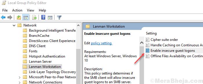 Abilita accessi guest non sicuri