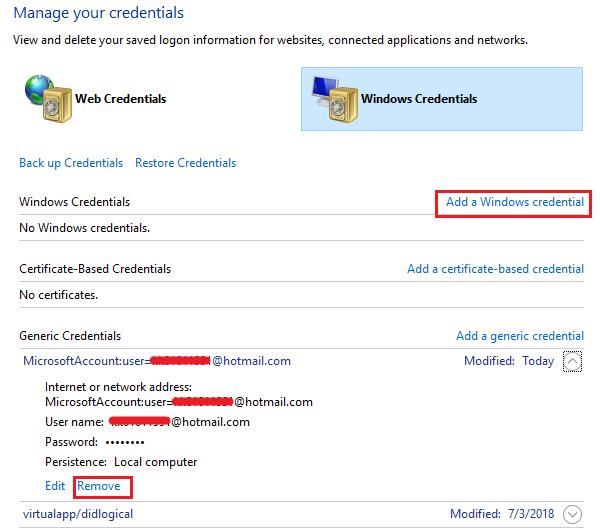 Aggiungi le credenziali di Windows