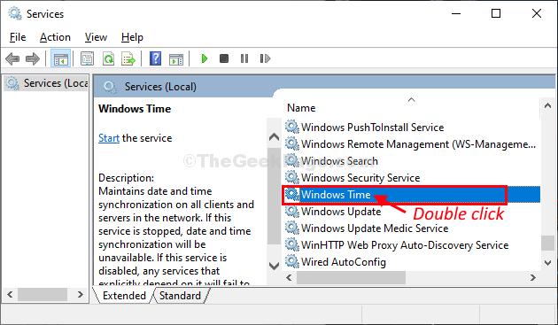 Doppio clic sull'ora di Windows