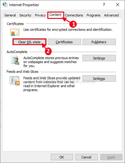 Cancella stato SSL