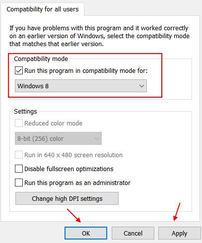 Modalità compatibilità Win8