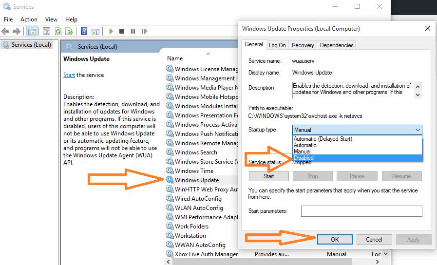 disabilitare l'aggiornamento automatico