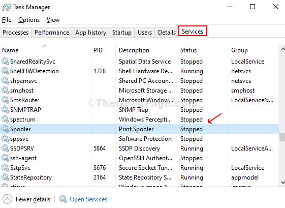 Nella finestra Task Manager, fai clic sulla scheda Servizi, scorri verso il basso fino a Spooler e controlla lo stato