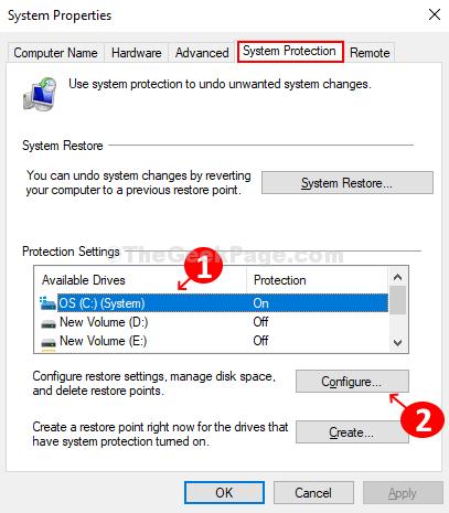 Nella scheda Protezione, seleziona l'unità desiderata e fai clic sul pulsante Configura