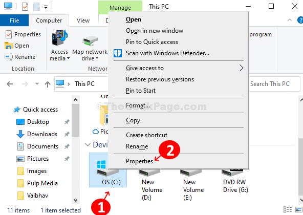 Fare clic con il pulsante destro del mouse sull'unità C e fare clic su Proprietà
