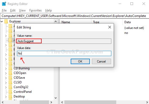 Assegnare un nome al nuovo valore di stringa Autosuggestione, valore di input No