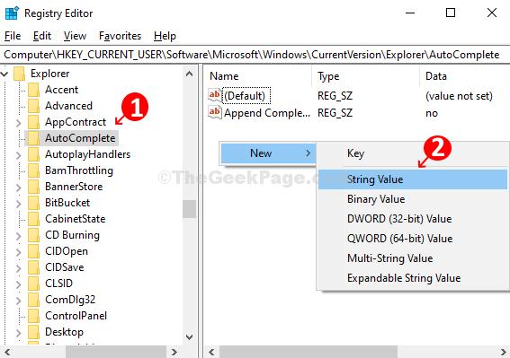Fare clic su Completamento automatico a sinistra, fare clic con il pulsante destro del mouse sul riquadro vuoto a destra, selezionare Nuovo, fare clic sul valore della stringa