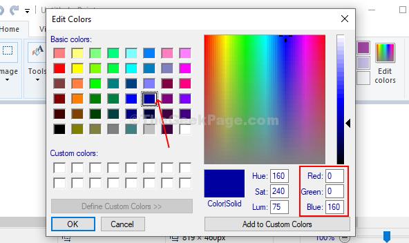 Seleziona il colore che preferisci e prendi nota del valore rosso, verde e blu