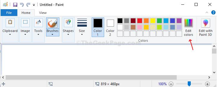 Apri Paint, fai clic sull'opzione Modifica colori in alto a destra dell'applicazione