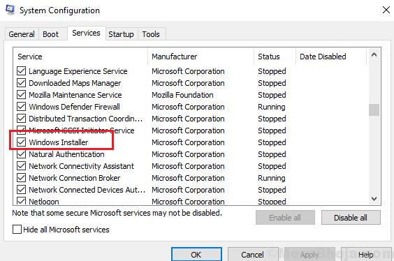 Controlla il servizio Windows Installer