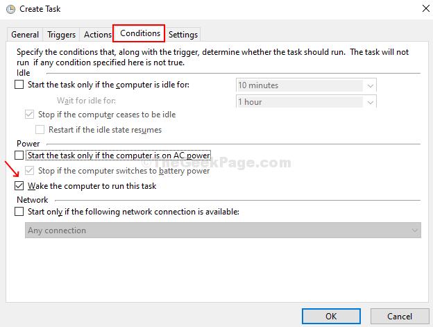 Nella scheda Condizioni, segui le istruzioni per attivare automaticamente il computer