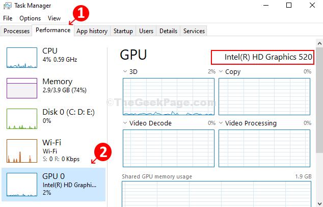 Fare clic sulla scheda Prestazioni, fare clic su GPu e vedere il modello della scheda grafica sulla destra