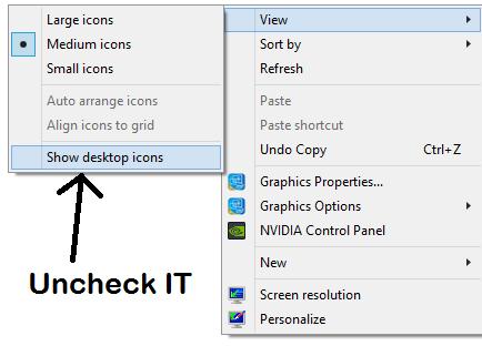 mostra le icone del desktop