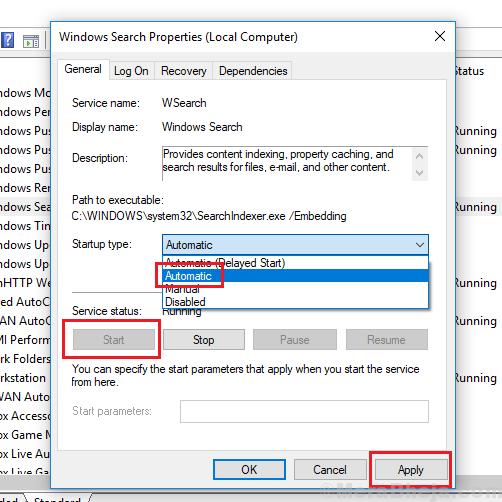Avvio automatico per il servizio di ricerca Windows