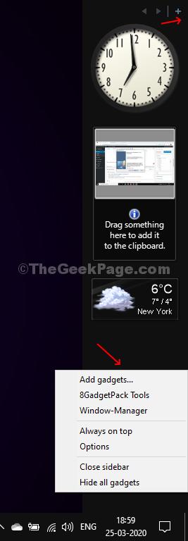 Il gadget desktop appare come una barra laterale personalizzabile