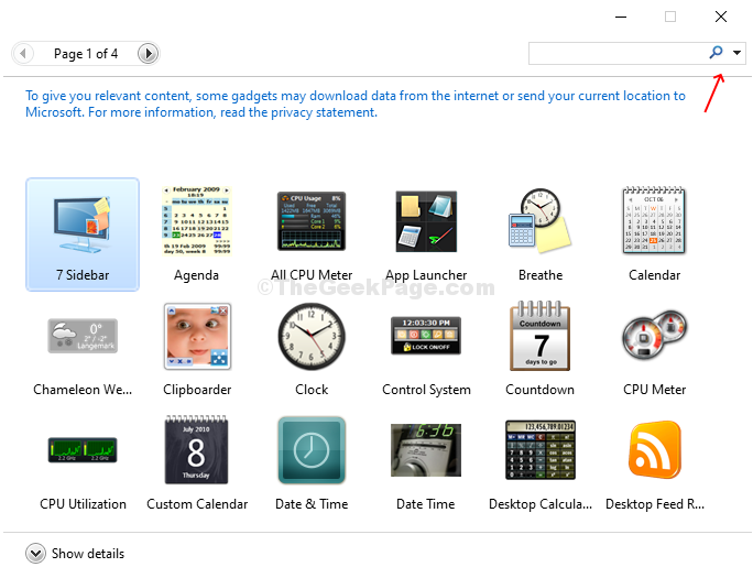 Fare clic su Aggiungi gadget per aprire la pagina Gadget, trascinare e rilasciare Gadget