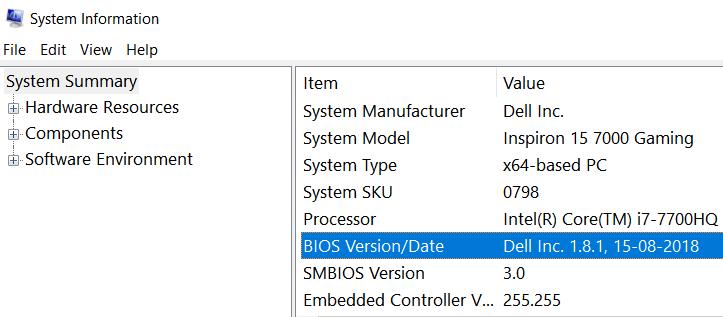 Versione BIOS